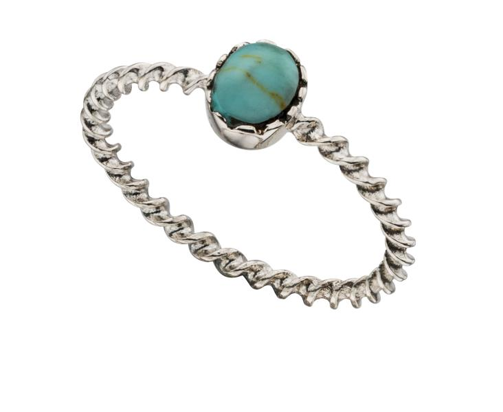 Twisted Ring With Turquoise Stone