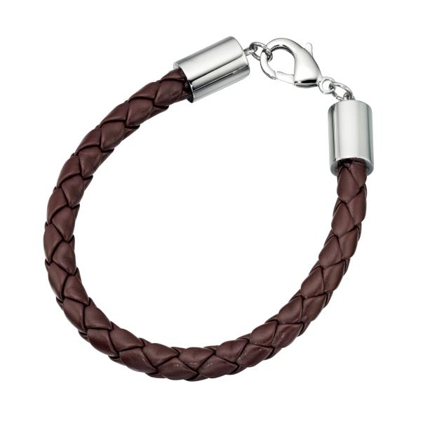Stainless Steel Clasp Brown Plait Leather Bracelet