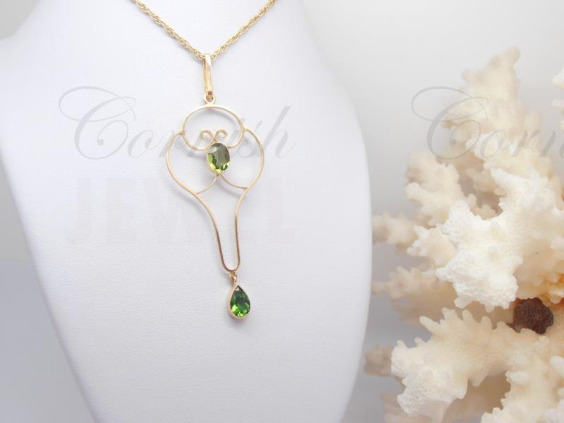Vintage 15ct Gold Peridot Lavaliere Pendant 9ct Chain