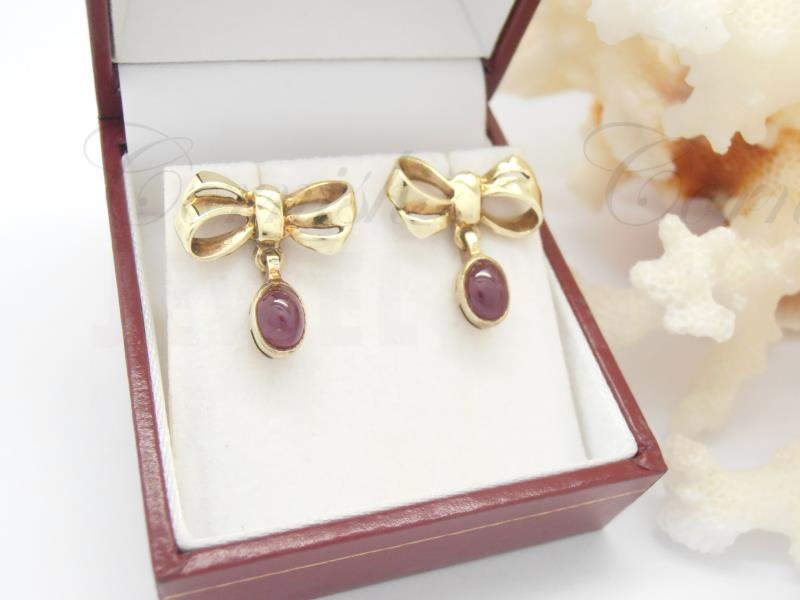 Vintage 9ct Gold Bow Garnet Earrings