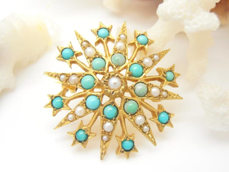Vintage 9ct Gold Turquoise & Pearl Brooch
