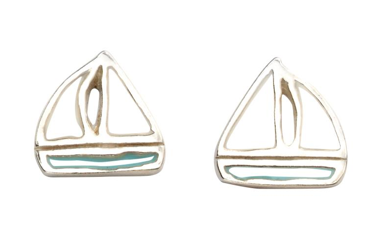 White And Turquoise Boat Studs