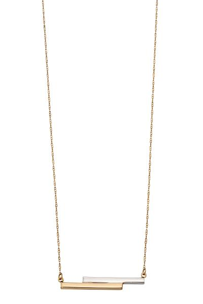 White & Yellow Gold Double Bar Necklace