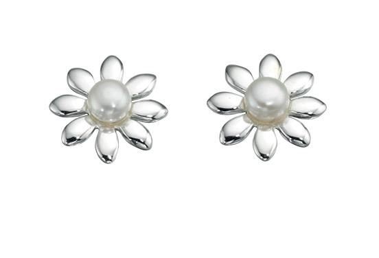 White Freshwater Pearl Flower Stud Earrings