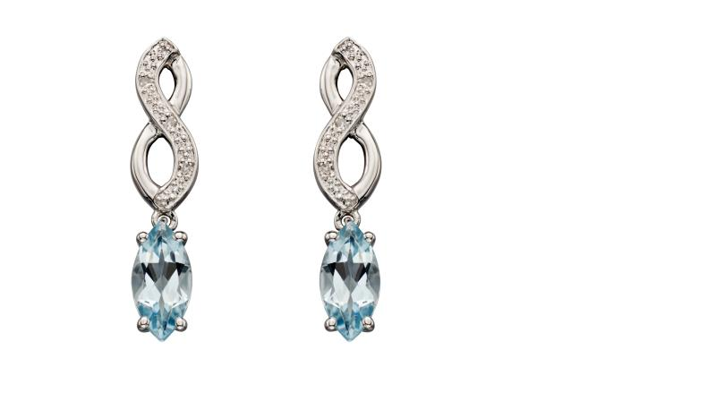 White Gold Celtic Plait Aqua Earrings