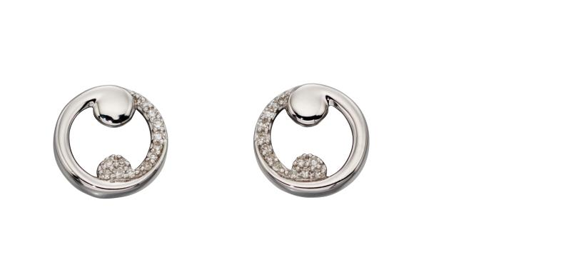 White Gold, Diamond Baroque Swirl Stud Earrings