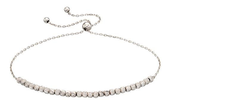 White Gold Diamond Cut Bead Adjustable Bracelet