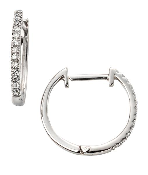 White Gold Diamond Huggie Earrings