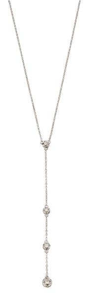 White Gold Illusion Disc Diamond Y-Drop Necklace