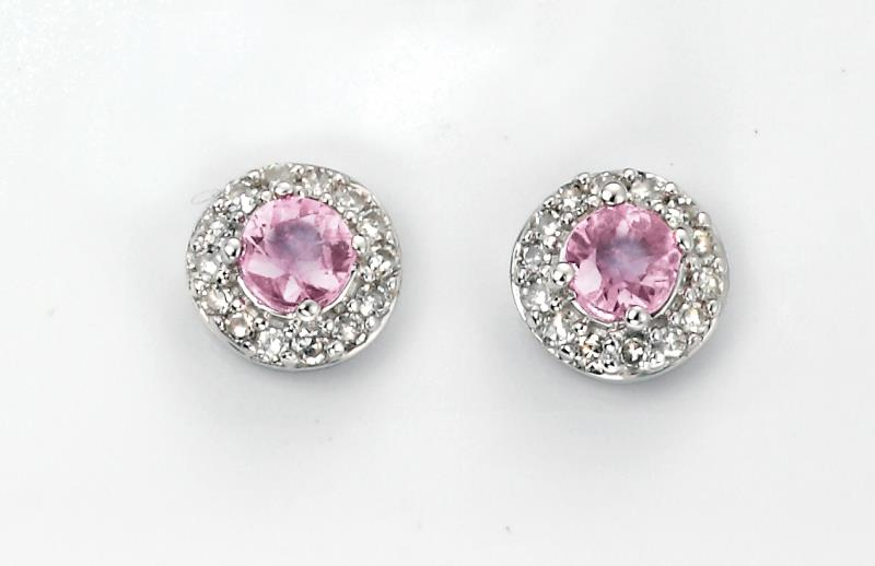 White Gold Pink Sapphire & Diamond Cluster Stud Earrings