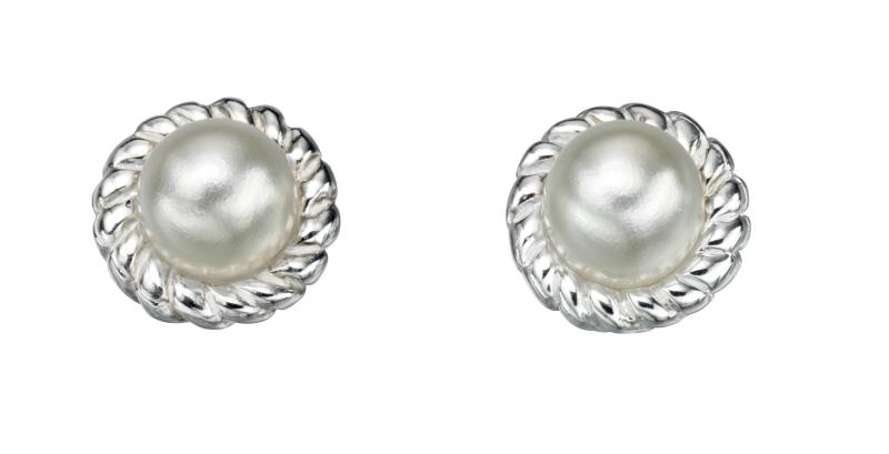 White Imitation Pearl Rope Edge Stud Earrings