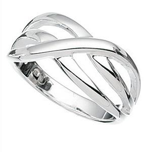 Wide Silver Crossover Ring