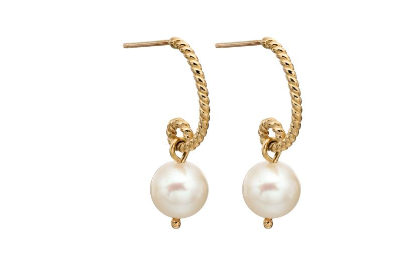 Yellow Gold And Cast Rope Pearl Earrings