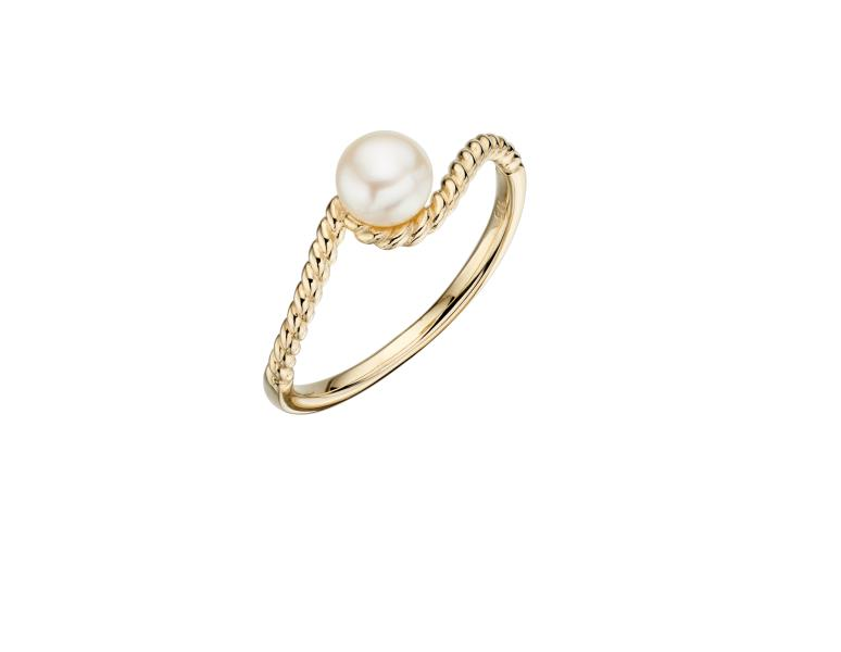 Yellow Gold And Cast Rope Pearl Ring
