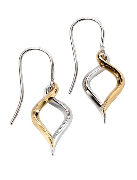 Yellow Gold And White Gold Knife Edge Drop Earrings
