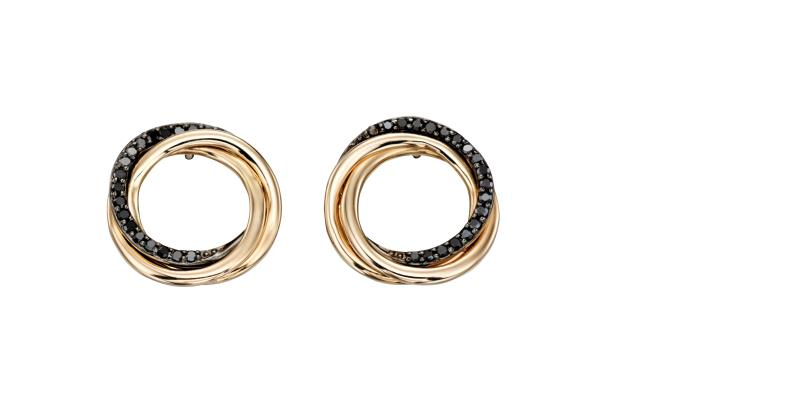 Yellow Gold Black Diamond Open Circle Earrings