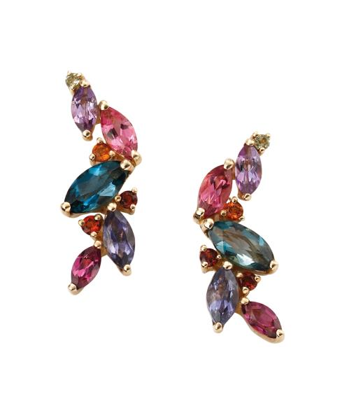 Yellow Gold Blue Topaz, Iolite, Pink Tourmaline, Brazilian Garnet, Amethyst, Citrine, Garnet And Peridot Earrings