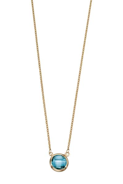 Yellow Gold Blue Topaz Necklace