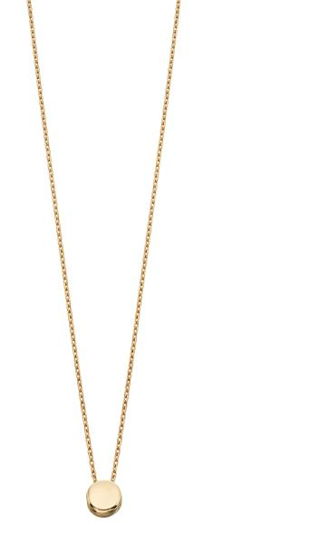 Yellow Gold Circle Disc Plain Necklace