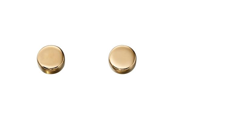 Yellow Gold Circle Disc Plain Stud Earrings
