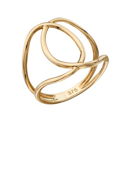 Yellow Gold Cut Out Interlocking Circle Ring