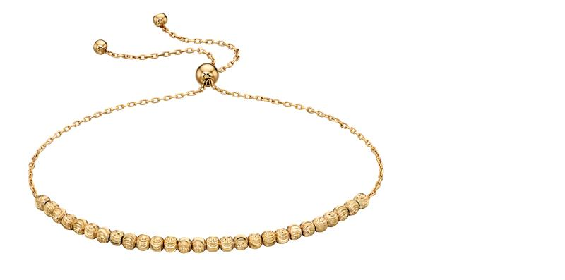 Yellow Gold Diamond Cut Bead Adjustable Bracelet