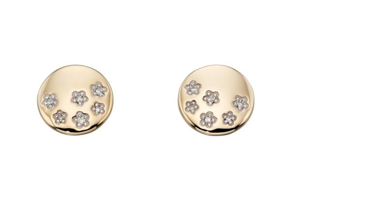 Yellow Gold Diamond Stars Disc Stud Earrings