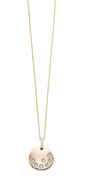 Yellow Gold Diamond Stars Medal Pendant