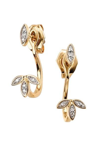 Yellow Gold Front Back Leaf Diamond Earrings