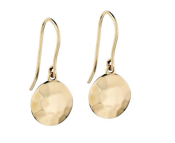 Yellow Gold, Hammer Finish, Irregular Disc Earrings