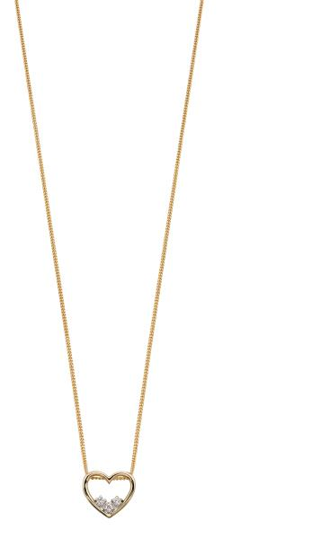 Yellow Gold Heart Dainty Diamond Pendant