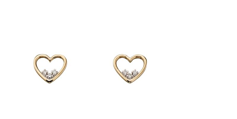Yellow Gold Heart Dainty Diamond Stud Earrings