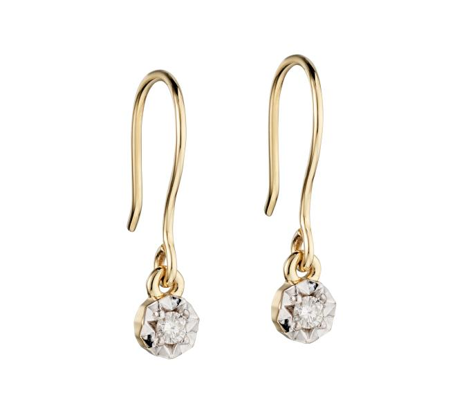Yellow Gold Illusion Disc Diamond Hook Earrings