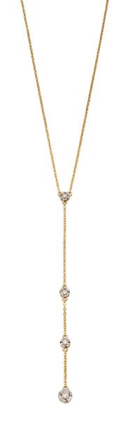 Yellow Gold Illusion Disc Diamond Y-Drop Necklace