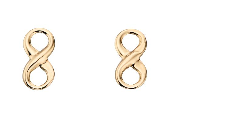 Yellow Gold Infinity Stud Earrings