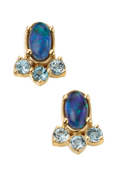 Yellow Gold Opal & Blue Topaz Stud Earrings