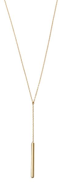 Yellow Gold Plain Bar Lariat Necklace