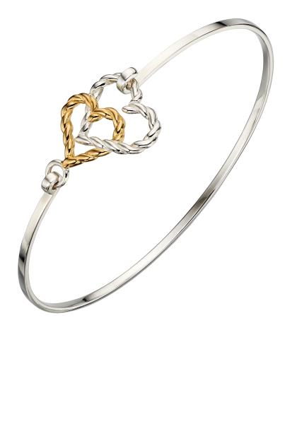 Yellow Gold Plate Rope Heart Bangle