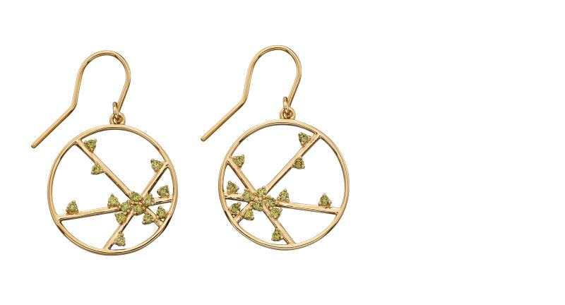 Yellow Gold Plated Silver, Khaki CZ Spider Web Earrings