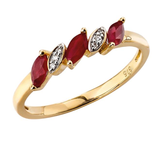 Yellow Gold Ruby And Diamond Marquise Ring