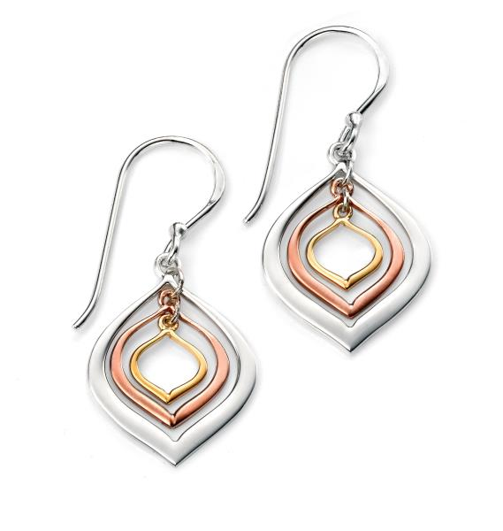Gold And Rose Gold Plated Triple Lantern Shaped Earrings