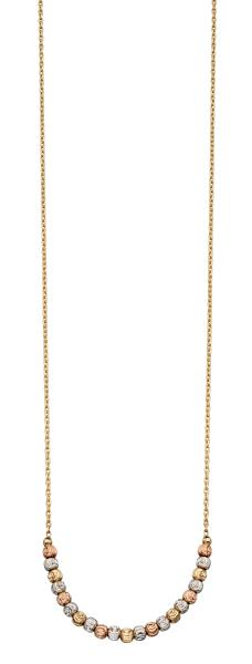 Yellow, White & Rose Gold Diamond Cut Bead Necklace