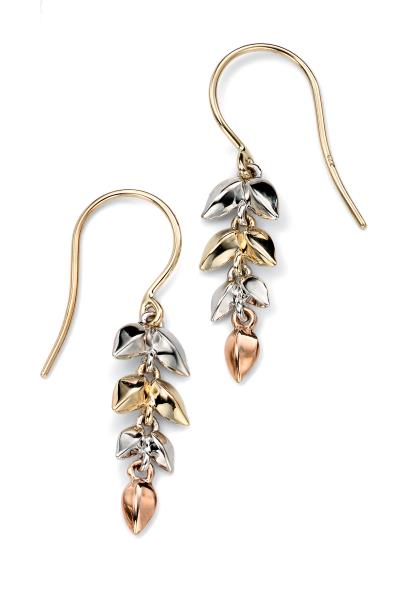 Yellow/White/Rose Gold Leaf Earrings