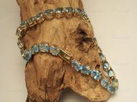 10ct Gold Blue Topaz Tennis Bracelet 7 1/2""