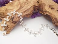 Diamante Wedding Bracelet Flowers Silver Plated