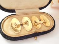 Mens 18ct Gold Cufflinks Initials Gr/rg Antique