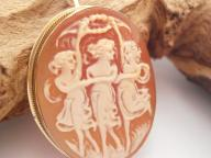 Vintage 9ct Gold Cameo Brooch / Pendant Three Graces