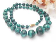 "Vintage Green Malachite Necklace Graduating 20"" Beads"